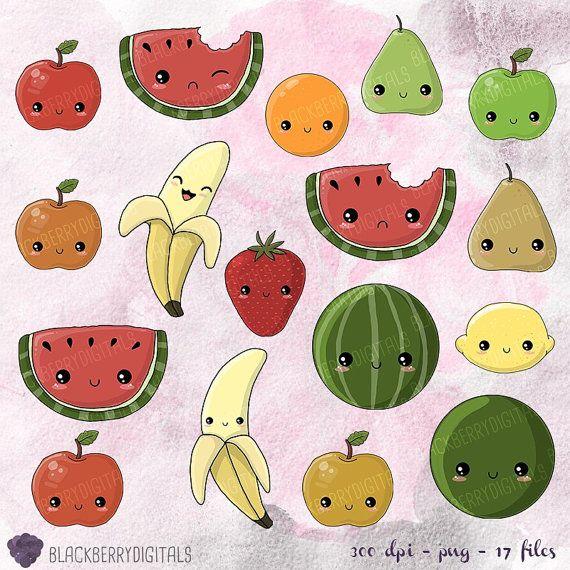 Kawaii Fruit Clipart fruit clip art kawaii by BlackberryDigitals