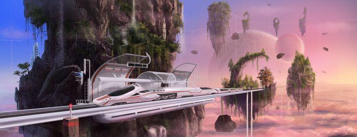 Image result for futuristic sky train