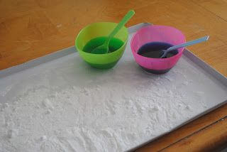 """Food Coloring + Vinegar + Baking Soda = Awesome. This is now enthusiastically referred to as """"powder bubbles"""" by my two year old. It's currently one of our favorite indoor activities."""