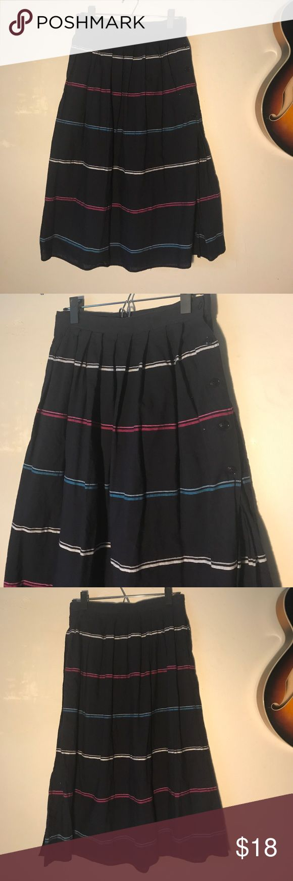 """Vintage Navy Striped Midi Skirt Vintage navy striped skirt with buttons down along side. 28"""" across waist and 29.5"""" in length Skirts Midi"""