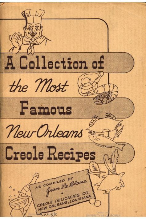 1950s cookbook of New Orleans recipes produced by the Creole Delicacies Company