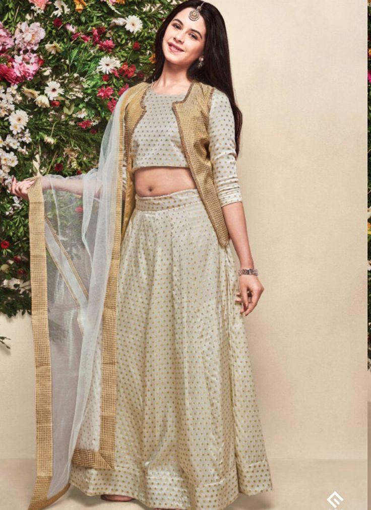 Exclusive banarasi silk with koti kids wear off white lehenga