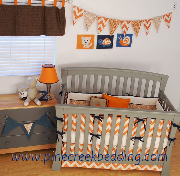 Orange Chevron Crib Bedding With Navy Piping And Ties Orange Chevron And Diamond Fabrics In A Banner Made By Back A