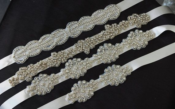 Crystal Beaded Satin Wedding Sashes, Bridal Sashes, Bridesmaid Sash, Flower Girl Sash on Etsy, $58.53 AUD