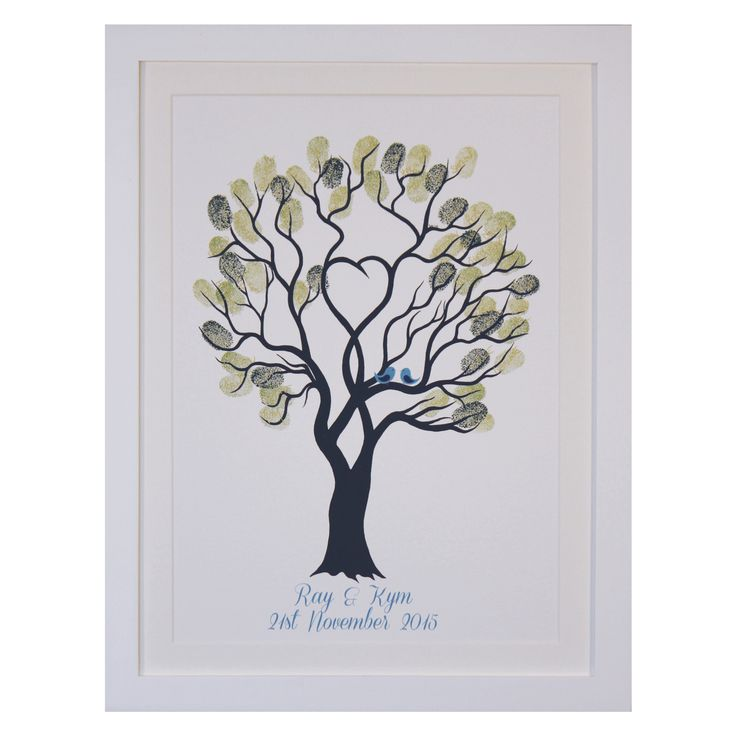 The Fingerprint Tree® – Unity Treewith Blue Birds.  Kit includes The kit includes everything you need, such as print, frame, ink pads, pen, gel cleaner & wipes for fingers and instructional card. Yep, everything!  Evergreen Selection = Cottage Ivy,Bamboo Leaves …