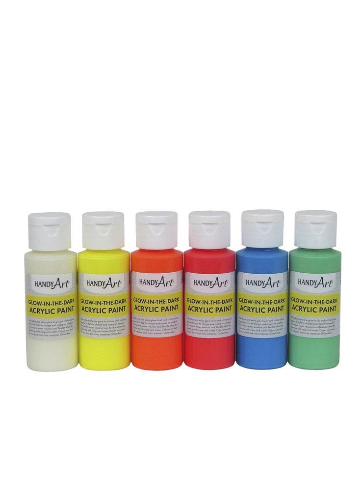 Handy Art Glow-in the Dark Non-Toxic Acrylic Paint Set, 2 oz Bottle, Multiple Color, Set of 6
