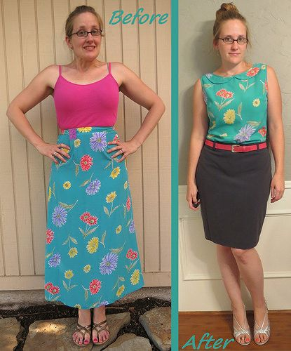 Floral skirt to Blouse Refashion by CarissaKnits