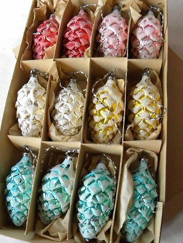 "Box 12 Vintage 3"" Colored Mercury Glass Pine Cone Ornaments German Germany…"