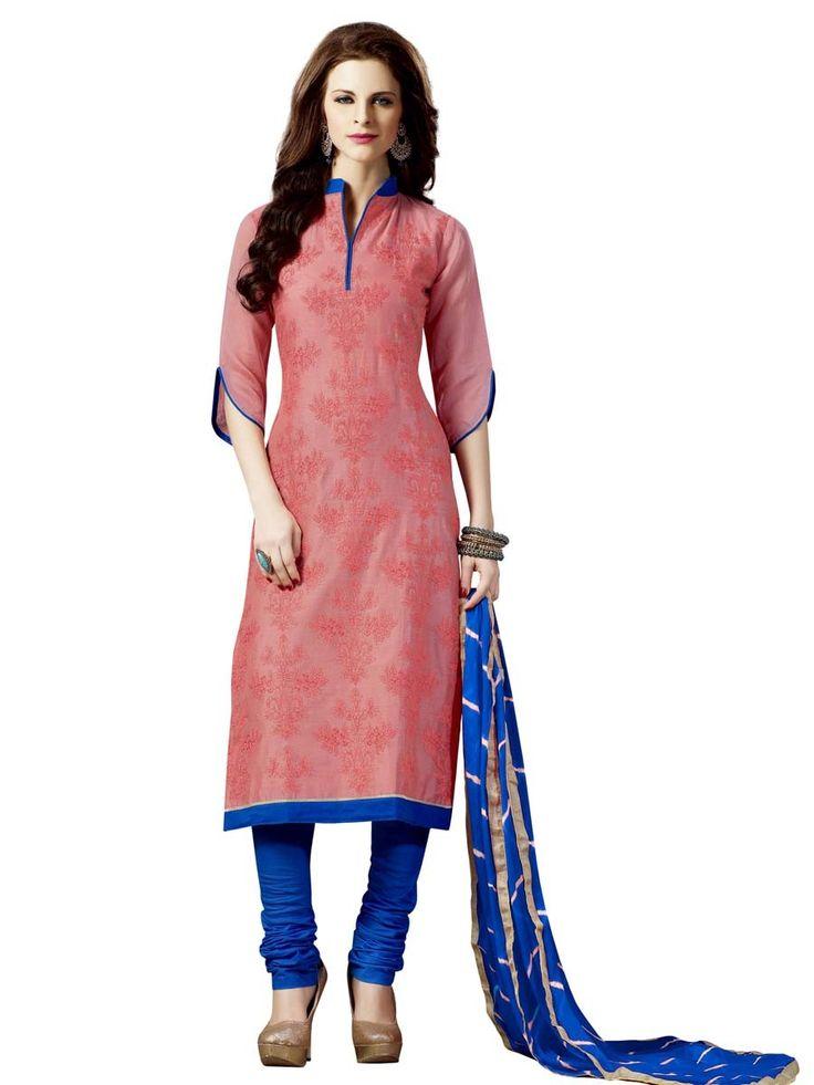 Marvelous peach color chanderi silk kurta with resham work. Item Code : SLHD74015 www.bharatplaza.com/new-arrivals/salwar-kameez.html