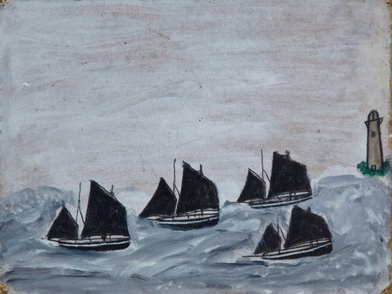 Alfred Wallis, Four Boats by a Lighthouse, Pencil and oil on wood|Pallant House Gallery (On Loan from a Private Collection, 2009)