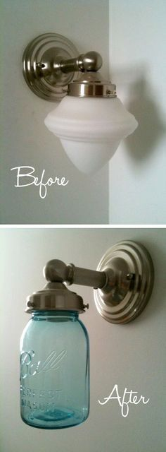 20 Of The Best Mason Jar Projects | Turn an outdated light into a charming one!