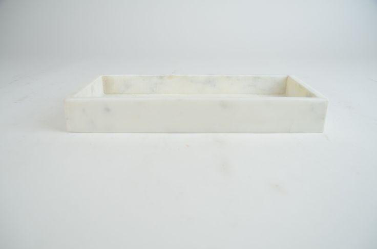 Bricka avlång marmor vit