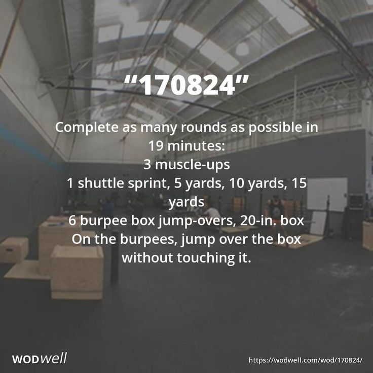 """""""170824"""" WOD - Complete as many rounds as possible in 19 minutes: 3 muscle-ups; 1 shuttle sprint, 5 yards, 10 yards, 15 yards; 6 burpee box jump-overs, 20-in. box; On the burpees, jump over the box without touching it."""