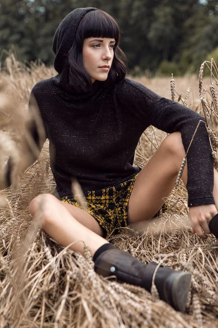 Black and yellow plaid shorts &  openwork knit hoodie. Kamila Gronner FW 2014/15 campaign. #kamilagronner