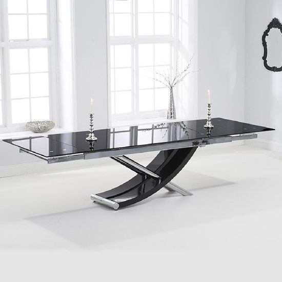Chanelle Glass Rectangular Extendable Dining Table In Black With Chrome  Legs, This Ultramodern Dining Table Will Be A Smart Addition To Your Home  Decor ...