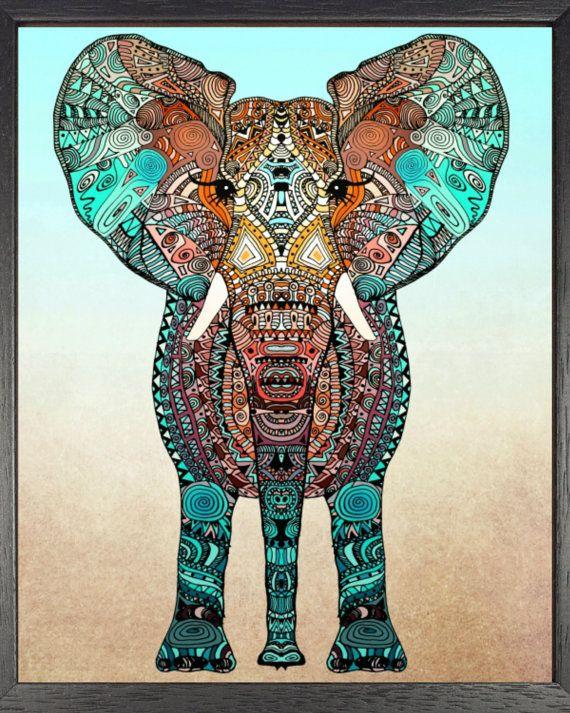 Bohemian elephant printable wall art boho by primroseprinting diy printable wall art - Diy bohemian wall art ...