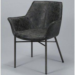 Spisebordsstol i stål og sort læder