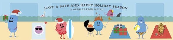 """Les personnages de """"Dumb-way-to-die"""" reviennent pour souhaiter aux usagers Australiens de bonnes fêtes mais aussi et surtout leur rappeler de faire attention durant leurs déplacements."""