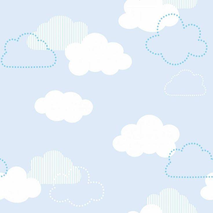 Papel de parede infantil céu e espaço nuvens brancas e azuis - PA8333