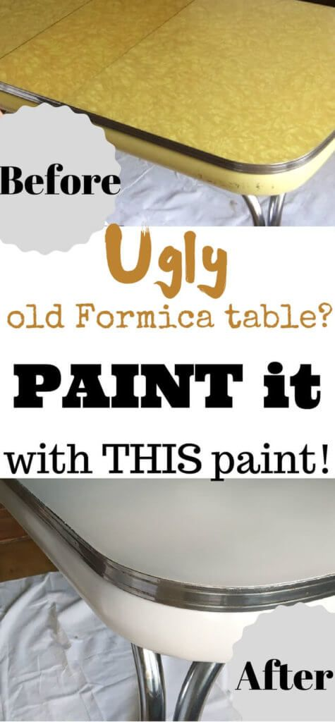 This sad, old ugly Formica table gets a fresh, modern facelift with THIS paint!