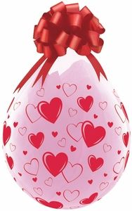 "18"" Qualatex Clear Stuffing Balloon Printed Hearts & Hearts 25ct #37656"