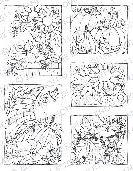 Digital Stamp / Embroidery Pattern - Fall Still Lifes