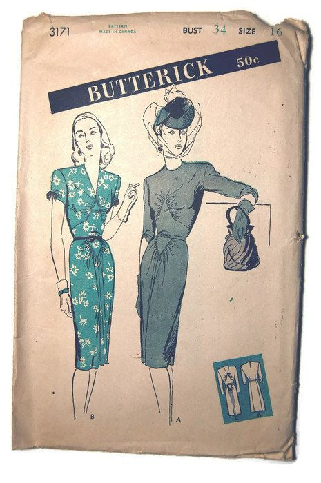 1950's Butterick Pattern 3171 Women's and Misses' by SewSymple