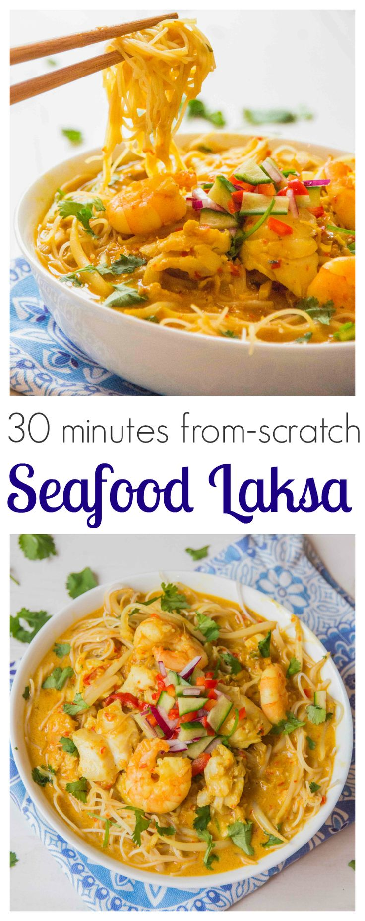 Seafood Laksa - Slurpy, spicy Thai noodle soup. Gluten Free!