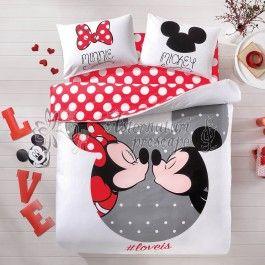 Tac Minnie si Mickey LoveIs - lenjerie de pat din bumbac pentru copii set de 2 persoane - material natural 100% bumbac - tesatura ranforce foarte fina si placuta la atingere - imprimeu cu personajele Disney Minnie si Mickey Mouse http://www.asternuturisiprosoape.ro/tac-minnie-si-mickey-loveis-lenjerie-de-pat-din-bumbac-pentru-copii-set-de-2-persoane.html  #lenjeriidepat #lenjeriitac #tac #lenjeriidepattac