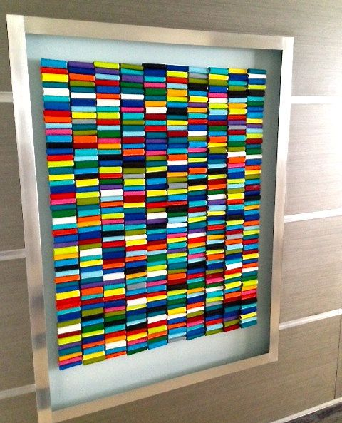 Original Assemblage Abstract Wall Sculpture - Rolls of Color - Original Wall Sculpture by Rosemary Pierce