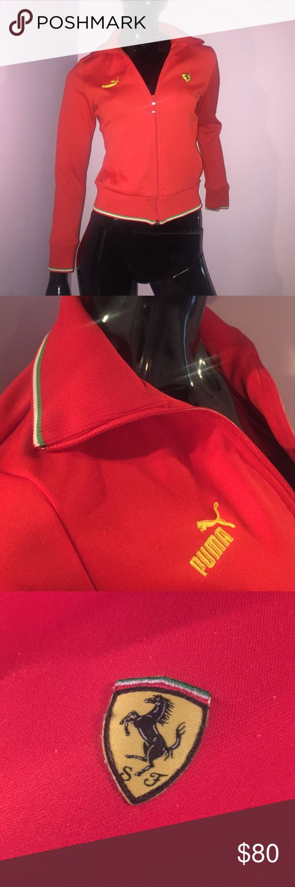 PUMA Ferrari Zip Up Red Sport Jacket 🔥 From the Ferrari store at the Wynn Hotel in Las Vegas this Puma Ferrari jacket is in great condition. As always our items are always authentic! We are a consignment store located one block off of the Las Vegas Strip! Follow us on Instagram for videos 💜 DayAndNightBoutique 💜Want more photos or have a question? 👉🏻 dayandnightlv @ G M a i l . C o m 💜😉✨ Puma Jackets & Coats