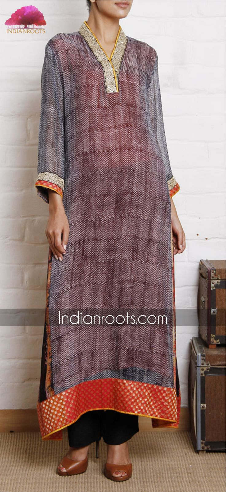 Grey georgette handwoven tunic with an orange finishing by Weavers Studio on Indianroots.com