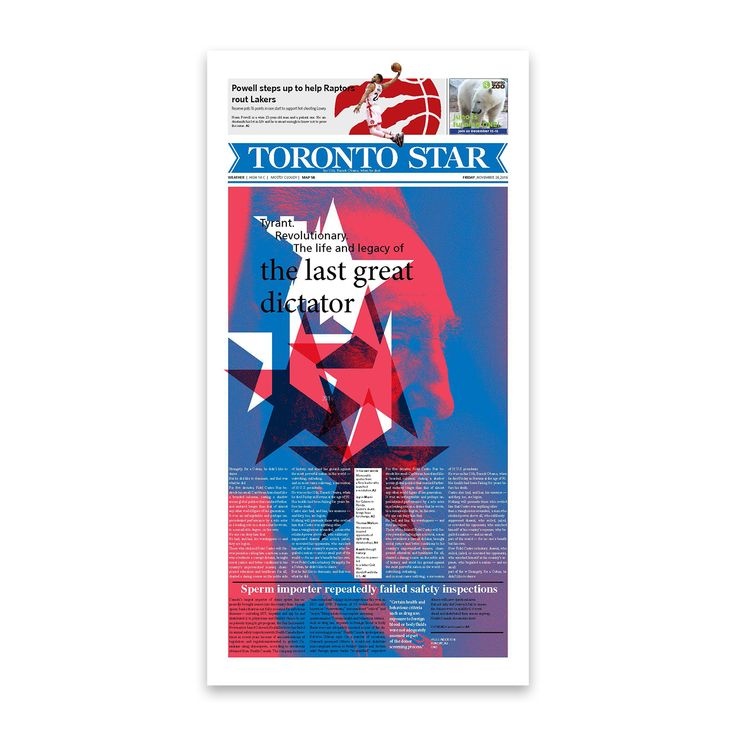 Front page design for The Toronto Star newspaper. . . . . . #graphicdesign @thetorontostar #cover #typography #typesetting #illustration #fidelcastro #cuba #newspaper @societyfornewsdesign @newspaperclub designer: @si.fani #toronto #canada #layout #aiga #aigadesign #print