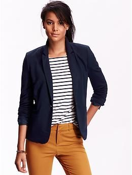 Great jersey blazers in navy, black, and heather gray.  So comfortable and so versatile, perfect for a business casual office outfit.