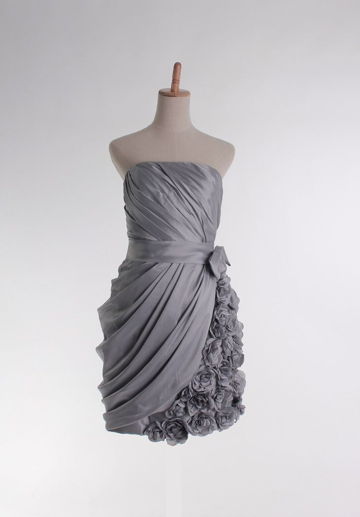Strapless Knee-length with Rose flower decoration dress