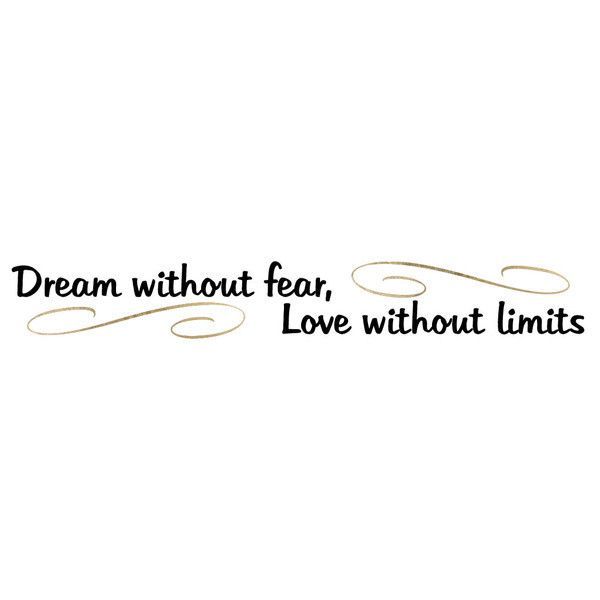 """This is a tattoo that has the quote """"Dream without fear, Love without limits"""" in black with gold accents. Sheet Size: .5"""" x 3.5"""" - Lasts 5-7 days even with swimming and bathing! - Easy to put on and e"""