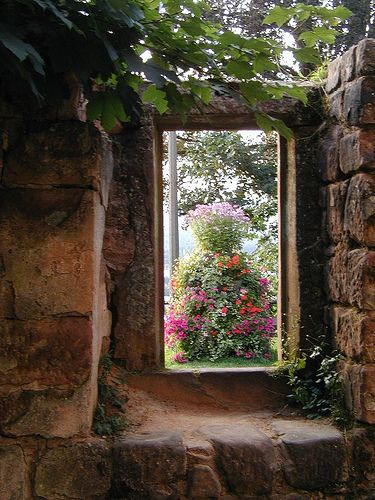 Looking out at the garden  ~  Burg Nanstein castle, Landstuhl, Germany
