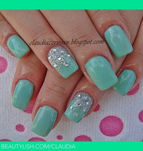 Mint Green Prom Nail: Tiffany Blue Nail Art