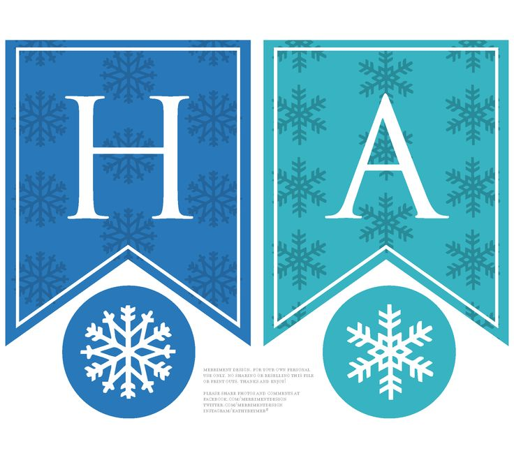 Printable personalized happy birthday banner for a Frozen birthday party - mix and match as you wish. Comes with two shades of blue for Elsa and Anna, plus optional snowflake circles to hang as party decorations. #frozen