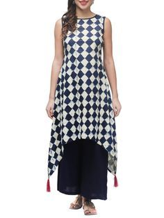 Blue Cotton Checked Women's Kurti #blue #checked #trail cut @looksgud