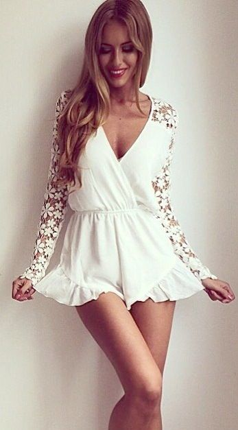 Lace sleeve romper