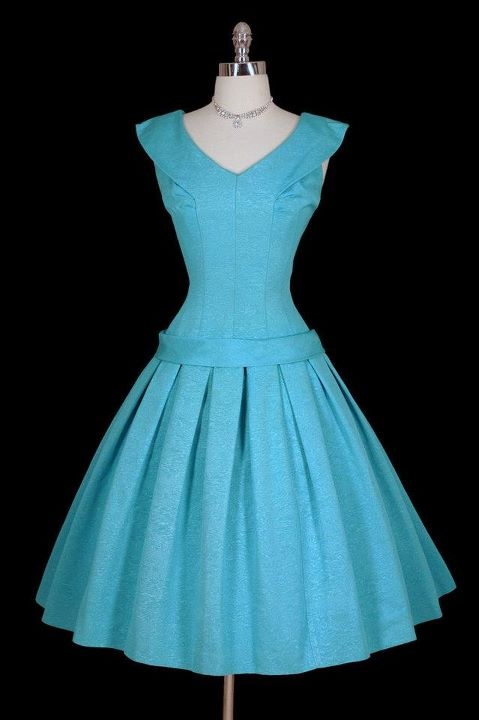50's dress ..parisian blue- love the neckline