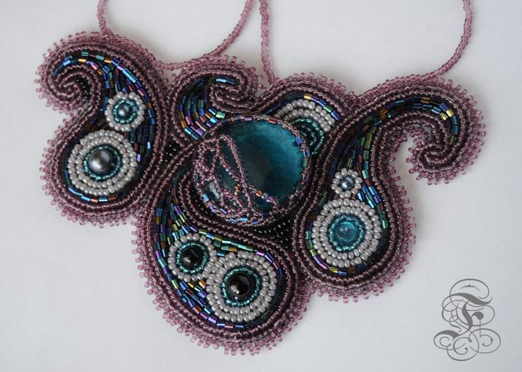 Bead Embroidered Necklace 'Purple Oriental Night' by Fantasmat