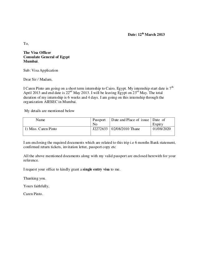 Cover Letter Template Visa Application Job application