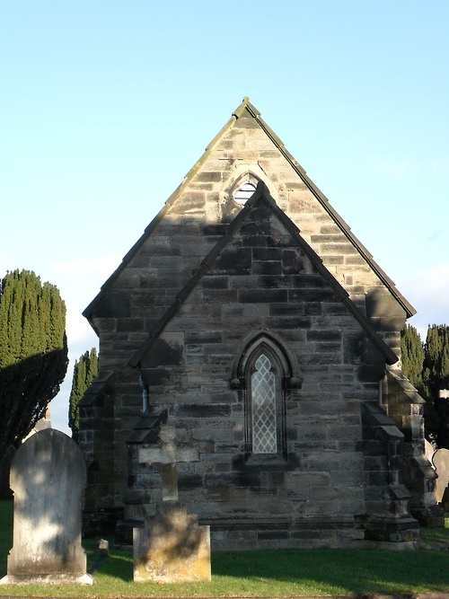 Small Victorian Chapel at Eccleshall roadCemetery, Stafford, Staffordshire, England.