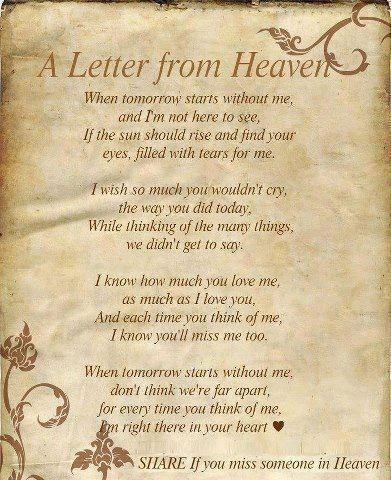 I don't know about heaven, but the rest of it is so beautifully expressed and true..