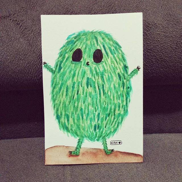 Monstrinho verde em aquarela 💚    #illustration #instart #nankin #fineline #desenho #desenhando #draw  #drawing #onedrawingaday #onesketchaday #sketch #sketchday #arte #art #illustration #girlsartistgang #criaturasmagicas #inktober2017 #inktober #monster