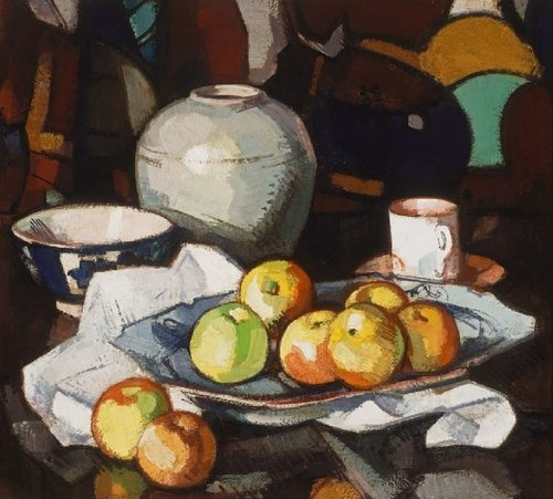 Apples and Jar- Samuel Peploe. This painting is of a dish of apples which is surrounded by a bowl, a vase and a mug. In the painting there are a variety of tones, colours and patterns used. The backdrop is very patterned, which makes the painting bold and eye-catching, but there are mostly dark colours used, which gives the painting a slightly dull atmosphere. The lines and shadows are rough as the paint is used thickly in these parts. Some angular lines are used for the apples and cloth…