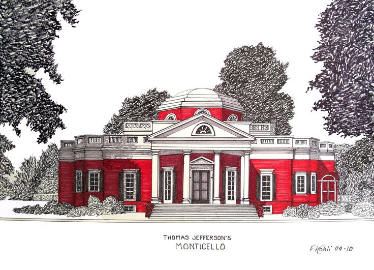 MONTICELLO - Pen and ink drawing by Frederic Kohli of the historic home of Thomas Jefferson in Charlottesville, Virginia. (prints available at http://frederic-kohli.artistwebsites.com)