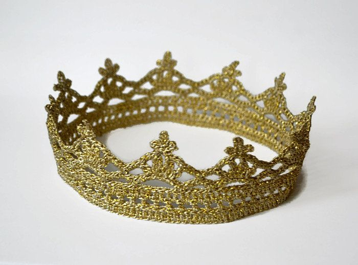 Children/'s Little Girl/'s Gold Crochet Lace Crown Queen Headband
